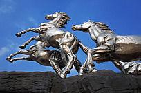 奔马雕塑特写画面