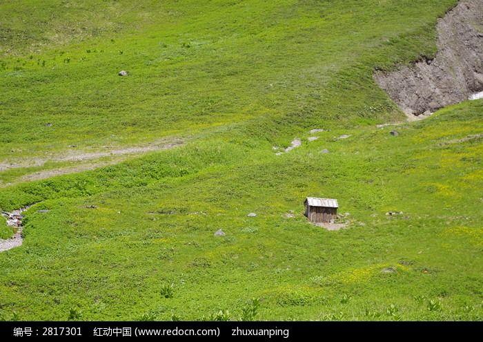 草地上的小木屋图片_自然风景图片