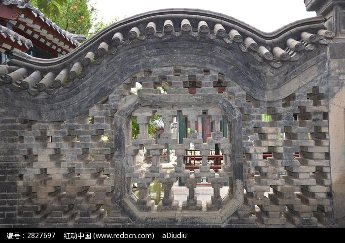 潍坊十笏园古建筑之镂空的墙体