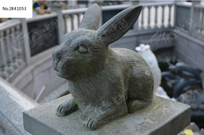 十二生肖兔石雕