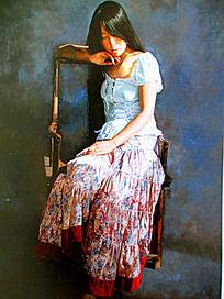 油画胳膊搭在椅子上的少女