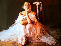油画甜美微笑的少女