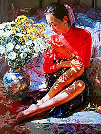 油画闻花香的红衣女子