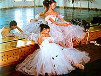 油画坐着的优雅的少女舞者