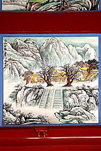 古建筑上彩绘的南山山水画图片