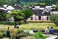 画中黟县西递村