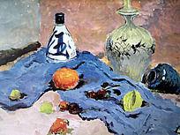 水粉画蓝色衬布上的汾酒