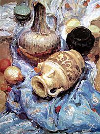水粉画蓝色衬布上的陶罐