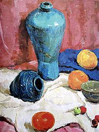 水粉画蓝色陶瓷花瓶