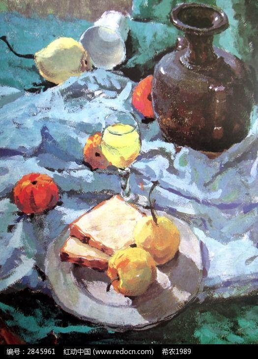 水粉画面包与梨