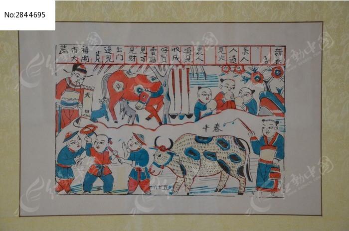 原创摄影图 艺术文化 古代字画 潍坊博物馆民俗文化馆馆藏书画之耕种图片
