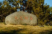 园博园里一块写着敖包相会的大石头