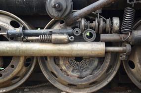 蒸汽火车车轮特写