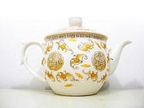 白瓷福寿纹饰茶壶
