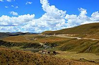 蓝天下的大草原摄影