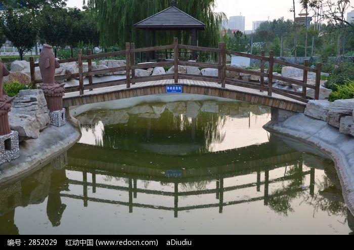 寿光农圣公园里的水池和木桥