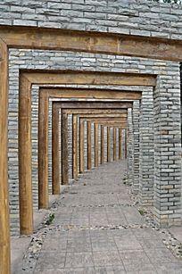 潍坊虞河景观带之青砖横木走廊
