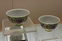 黄釉佛字瓷碗