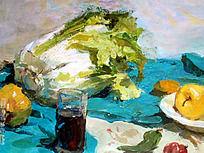 水粉画蓝色衬布上的大白菜