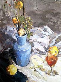 水粉画蓝色花瓶与一杯饮料