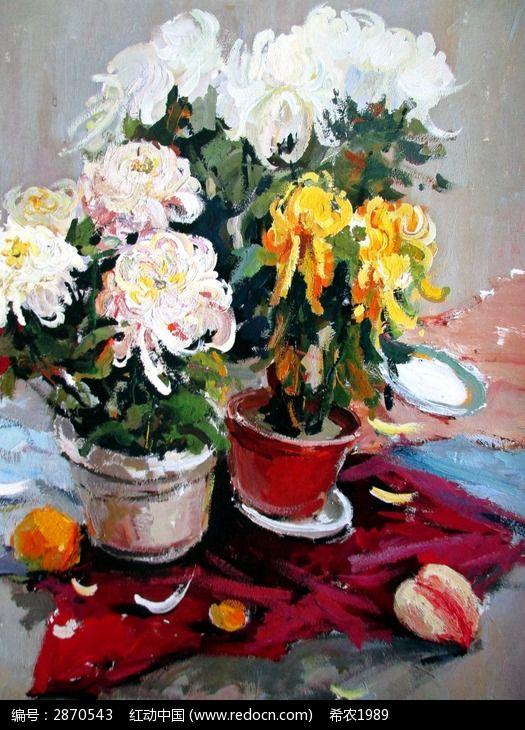 水粉画两盘盆栽花卉