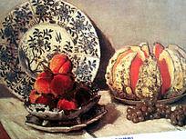 水粉画青花瓷盘子与果盘