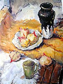 水粉画白色衬布上的陶壶与玻璃水杯图片_艺术