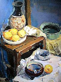 水粉画桌子上的花瓶水果与钵盂