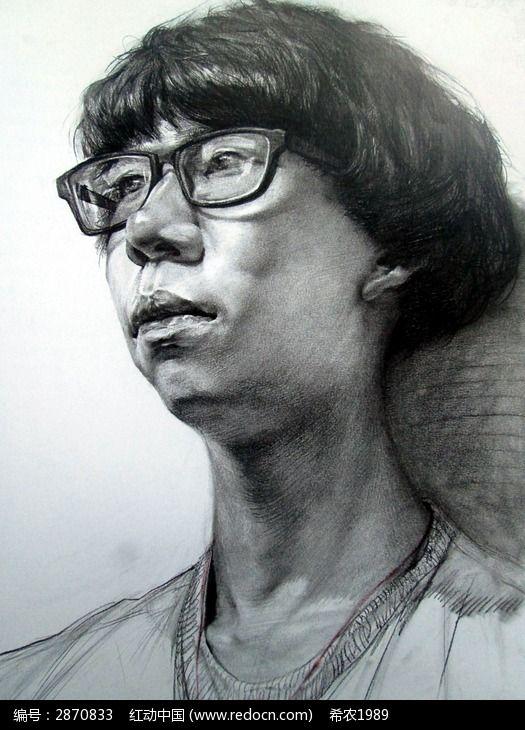 铅笔手绘黑白古装男子