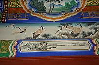 仙鹤木梁彩绘图案