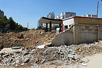 城市拆迁遗留的建筑废墟