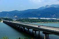 高清晰跨河大桥山水风光