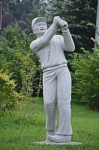 寿光玫瑰公园里的雕塑之打高尔夫的人