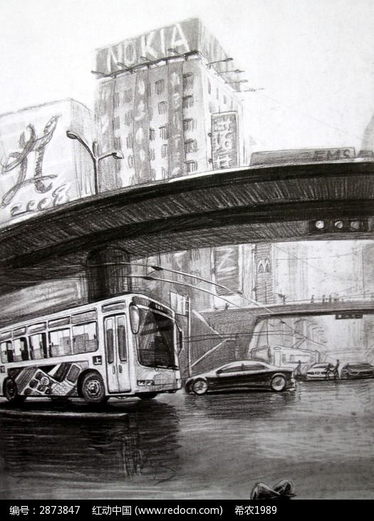 桥侧面素描画步骤