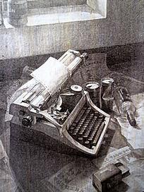 素描老式打字机