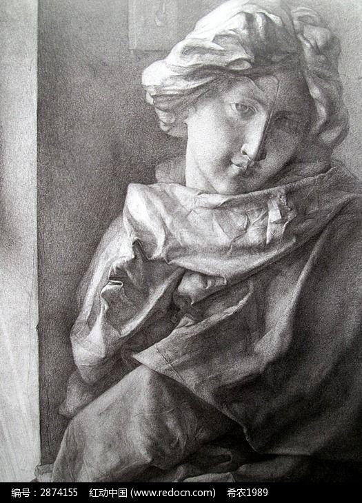 素描石膏裹着布的琴女图片,高清大图_插画绘画素材
