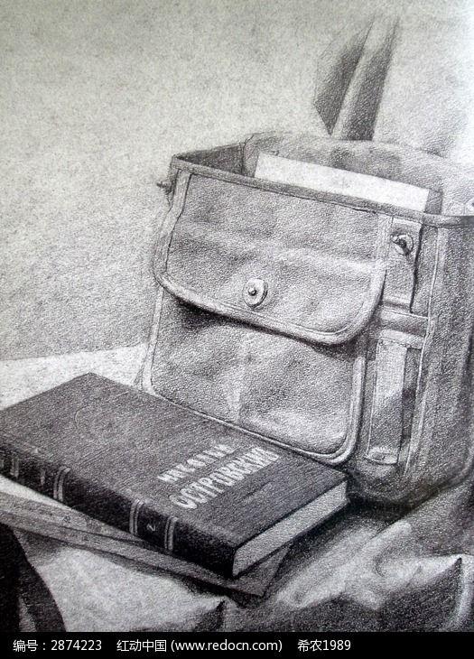 素描书本与书包图片