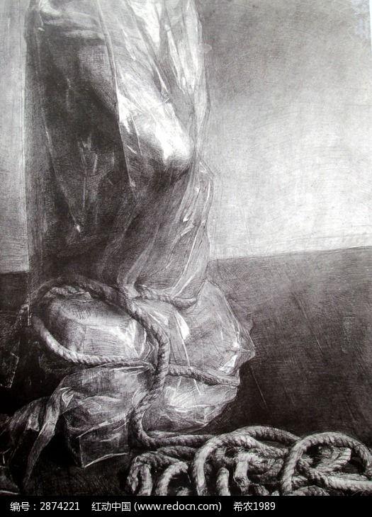 素描塑料袋蒙着的石膏像图片