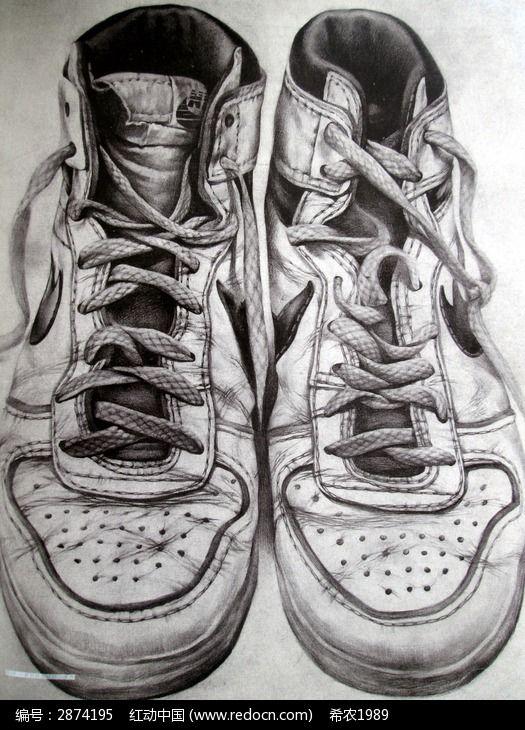 素描一双运动鞋高清图片下载 编号2874195 红动网