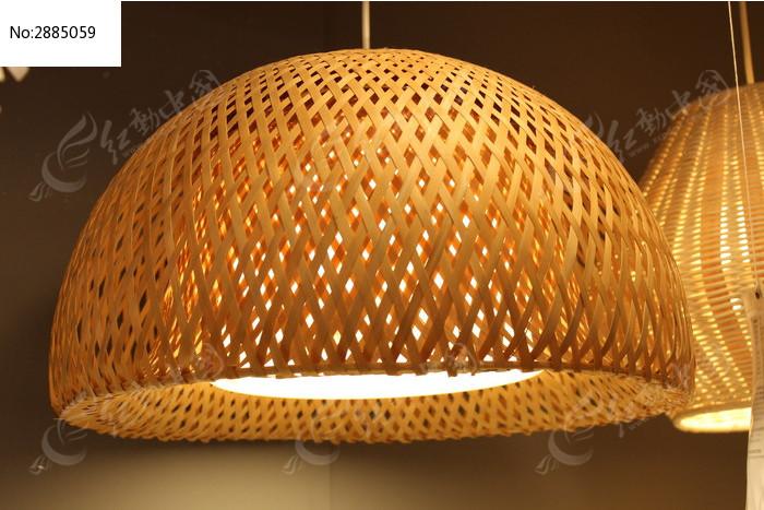 半圆形竹编灯罩