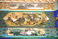古建筑上彩绘的伏羲发明针灸和牡丹凤凰图片