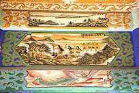 古建筑上彩绘的伏羲文化和凤凰朝阳画图片