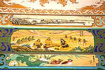 古建筑上彩绘的伏羲文化和鸳鸯戏水图案图片