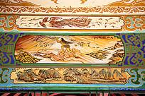 古建筑上彩绘的女娲补天神话典故和凤凰画图片