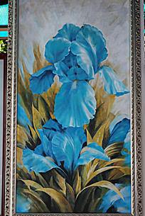 蓝色花朵油画