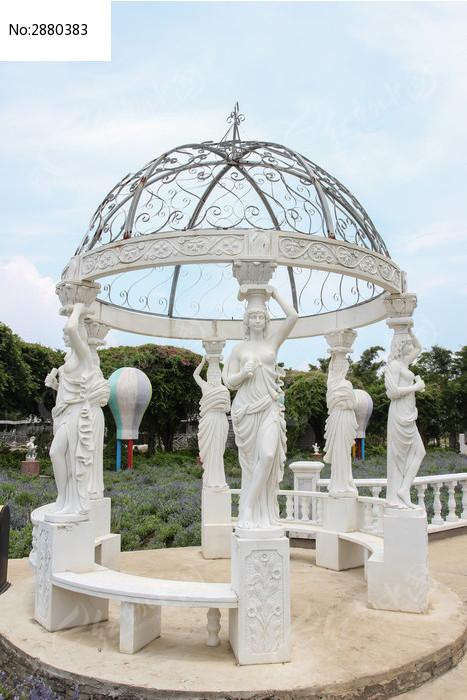 欧式人物圆顶建筑图片