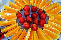 草莓橙子水果果盘