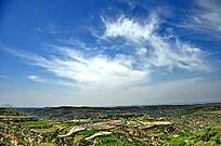 蓝天下的乡村田野