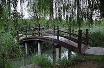 弥河沿岸公园里的木质拱桥