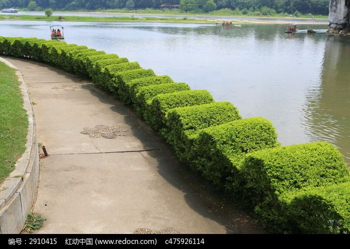 波浪形花圃护栏与漓江高清图片下载 红动网